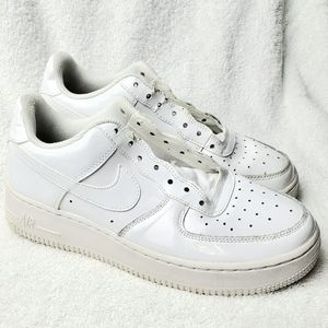Nike Air Force One GS Glossy White Size 6Y Shoes